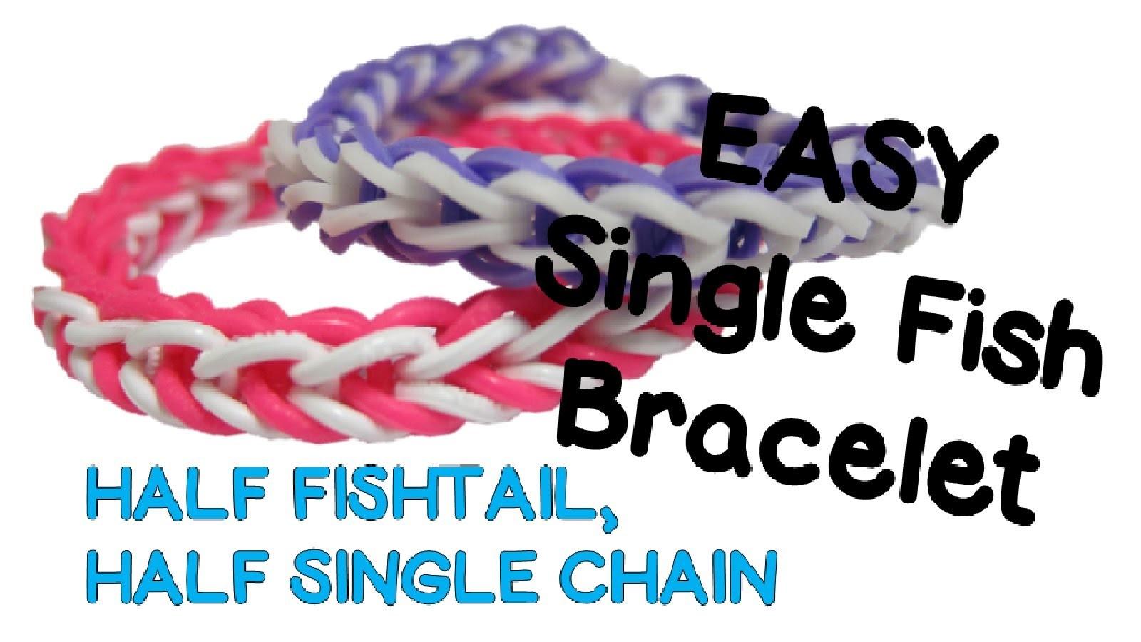 NEW EASY Single Fish Rainbow Loom Bracelet Tutorial