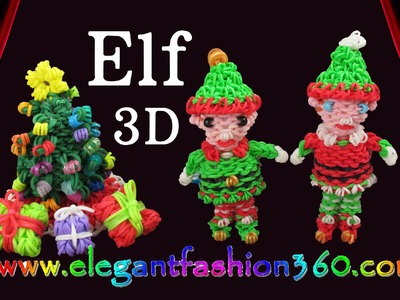 Rainbow Loom Elf.Elves Santa Helper 3D Charm.Christmas.Ornament.Santa Claus - How to Loom Bands