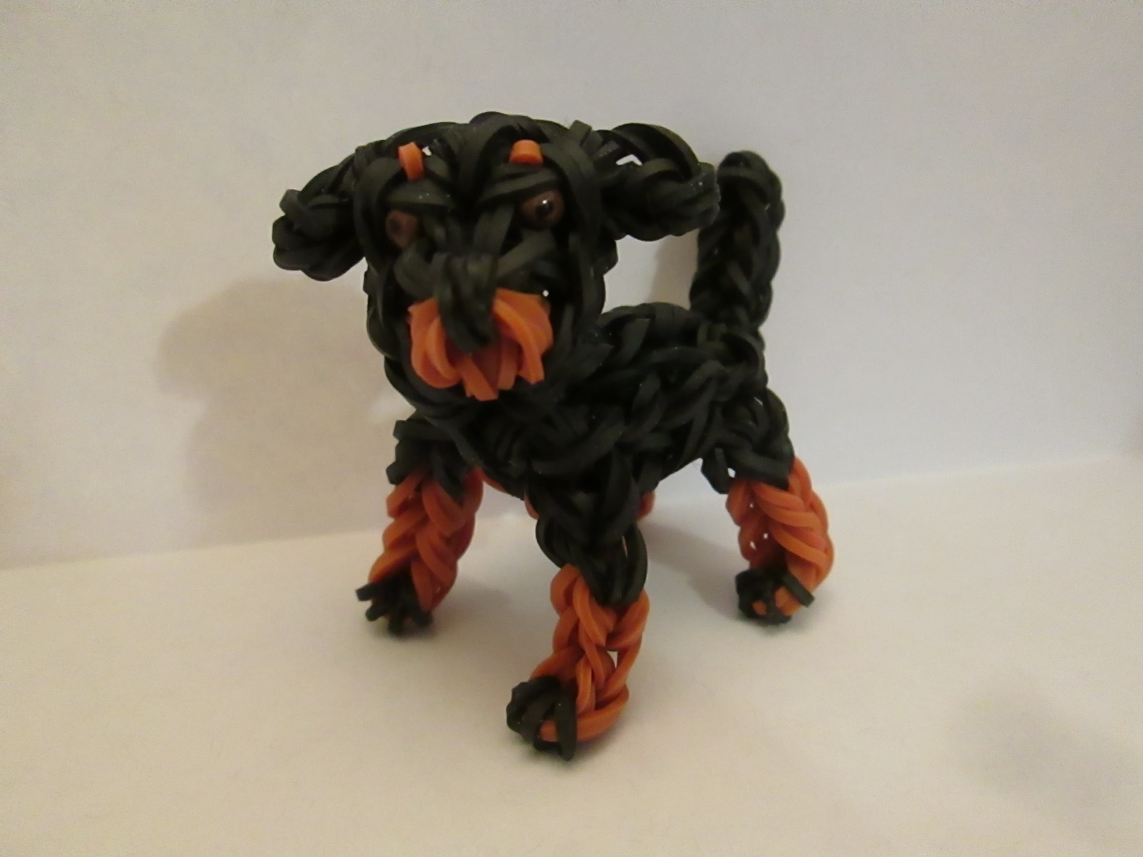 Rainbow Loom Rottweiler Dog or Puppy Charm. 3-D.