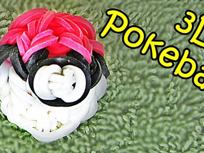 3D Pokeball Rainbow Loom Charm - How to make with Loom bands (Pokemon)