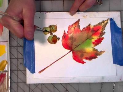 Acorns and maple leaf watercolor tutorial