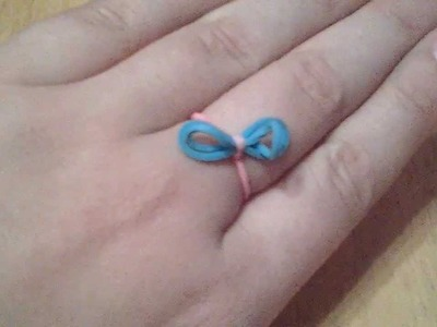 How to make a Rainbow Loom Bow Ring. Key chain!!!