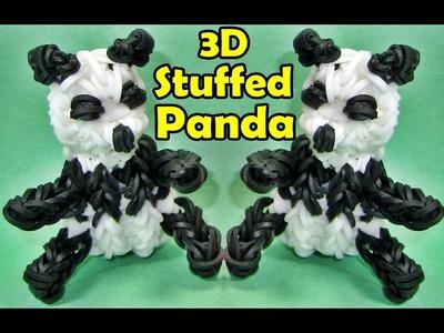 How to Make a Rainbow Loom PANDA. Stuffed Animals 3D Charm Design (Barbie+AG Doll Accessory)