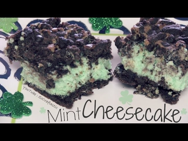 Mint Cheesecake with Chocolate - How To ♣ Green for St. Paddy's Day