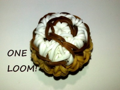 ONE LOOM 3-D Swirly Cinnamon Roll (Tart) Charm Tutorial by feelinspiffy (Rainbow Loom)