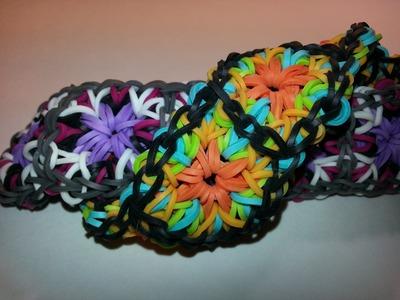 ONE LOOM Large Granny Square Bracelet Tutorial by feelinspiffy (Rainbow Loom)