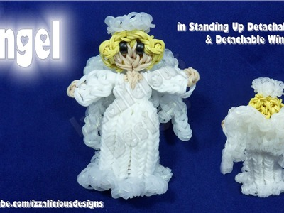 Rainbow Loom Angel Action Figure.Charm - Stand Up.Detachable Skirt & Detachable Wings - Gomitas
