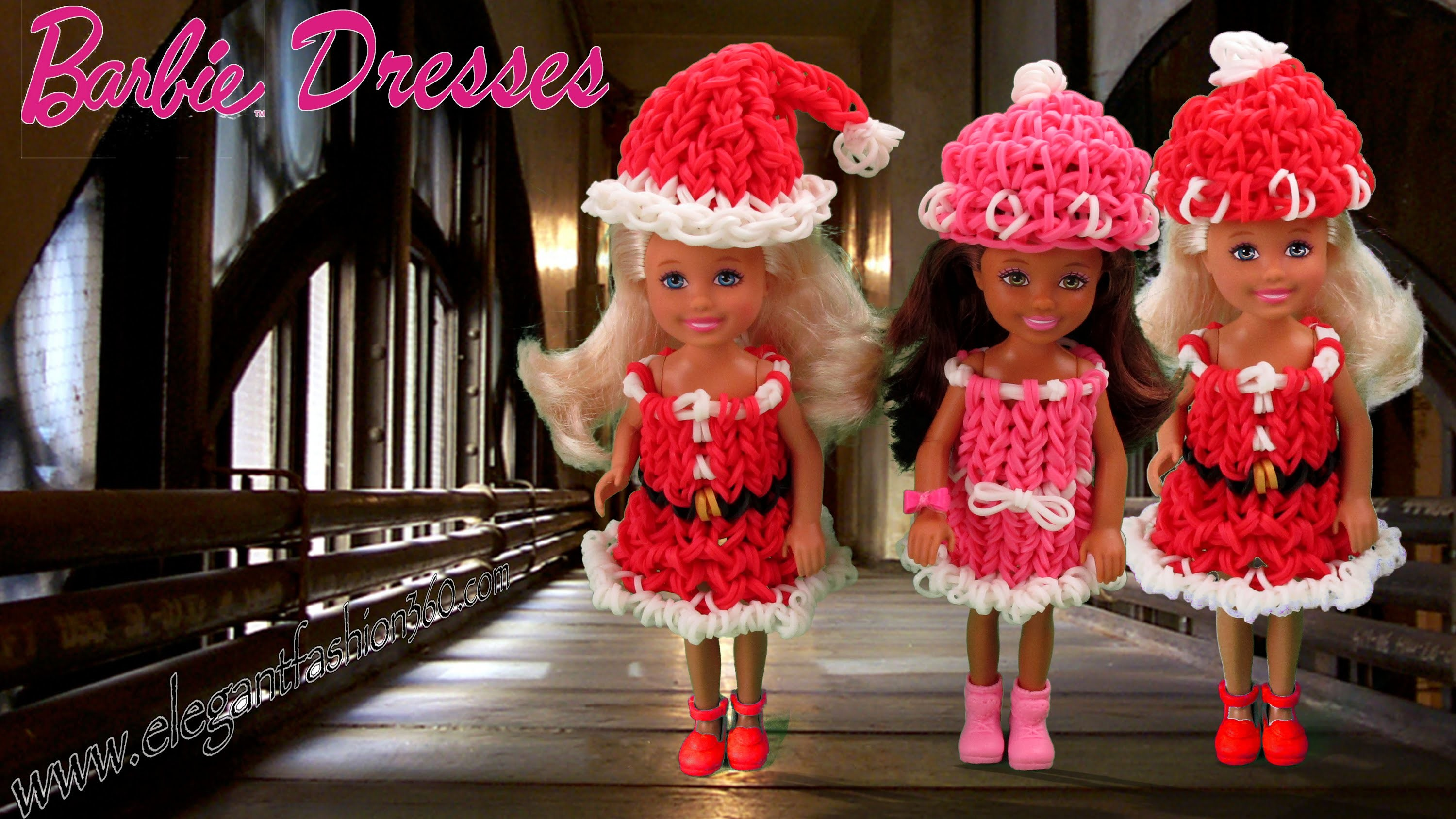 Rainbow Loom Barbie Dress.Christmas.Holiday Wearable - How to Loom Bands Tutorial