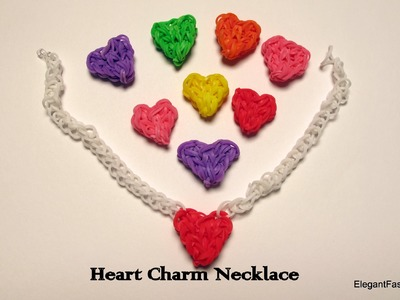 Rainbow Loom Heart Charm Necklace - How to