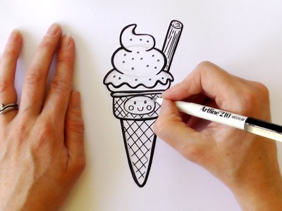 How to Draw a Cartoon Ice Cream Cone