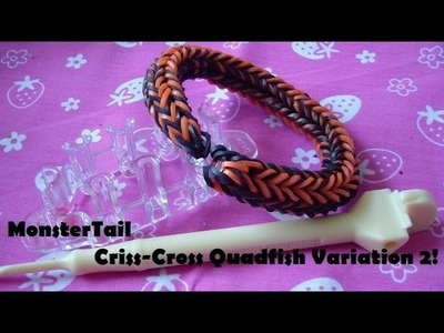 Monster Tail Loom Tutorial: Criss-Cross Quadfish Variation 2!
