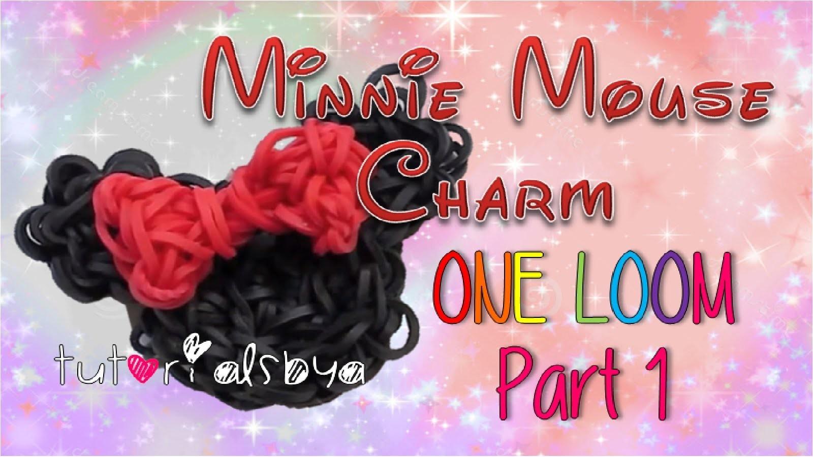 Part 1- 1 LOOM Minnie Mouse Rainbow Loom Charm Tutorial