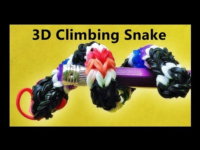 Rainbow Loom 3D Climbing Snake Charm Made with Loom Bands and Finger Loom