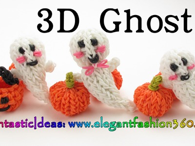 Rainbow Loom 3D Ghost.Casper Charm - Halloween-How to loom bands tutorial