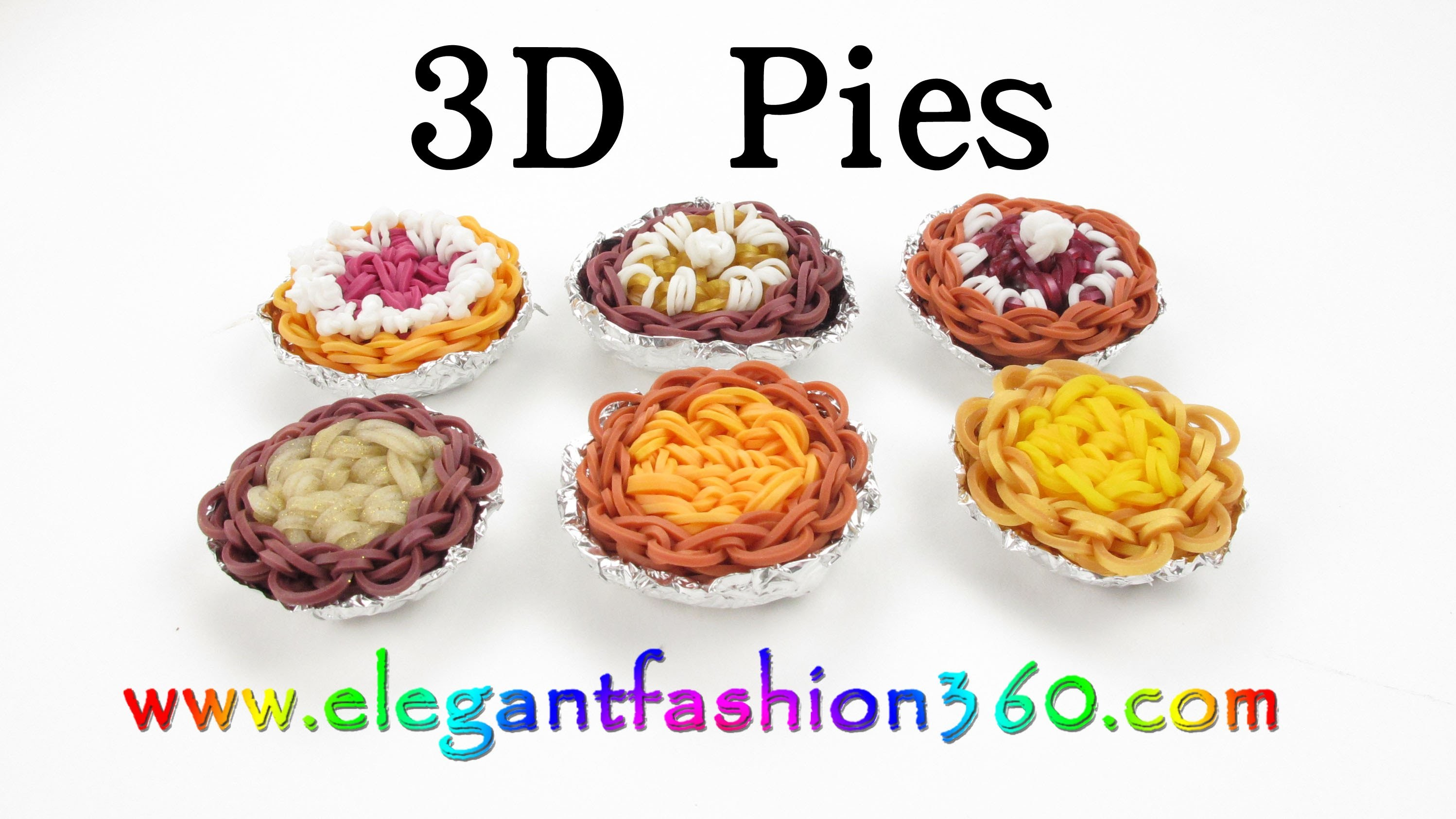 Rainbow Loom 3D Pies Charm - How to tutorial- Loom Bands