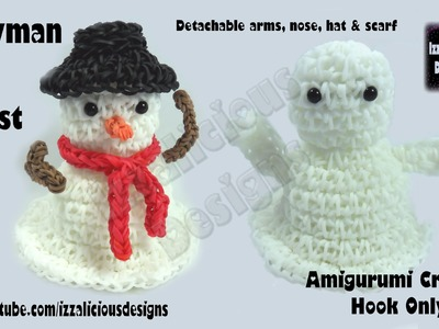 Rainbow Loom (Halloween.Christmas.Xmas) Amigurumi Ghost.Snowman Figure.Charm 3.3 loomless.hook only
