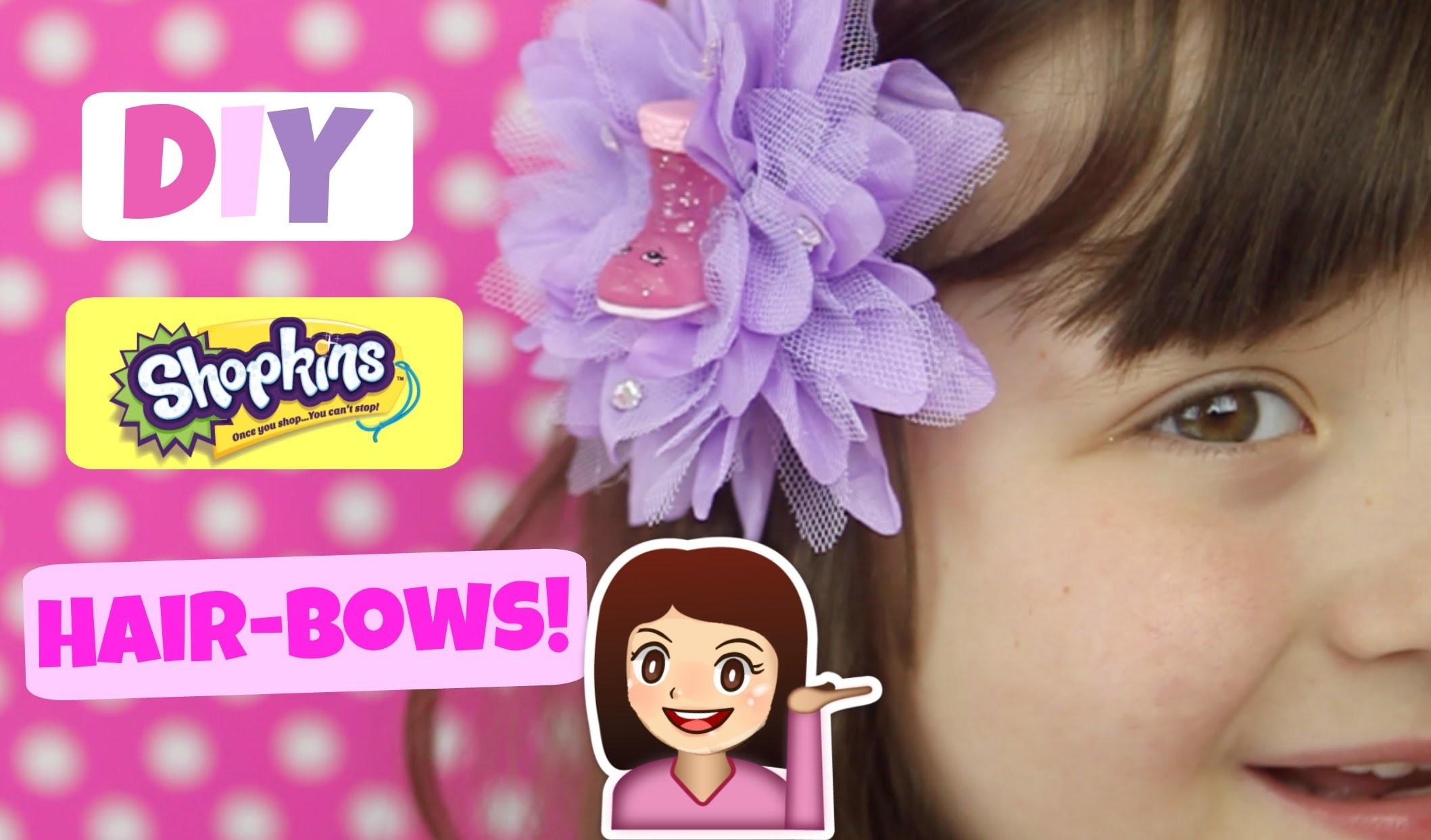 DIY SHOPKINS HAIR BOWS!  Super cute, super girly hair bows with Ultra Rare Cute Boot Shopkin Season2