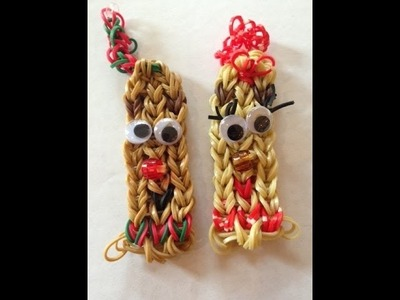 How to Make Rudolph and Clarice Bracelets - rainbow loom PART 1