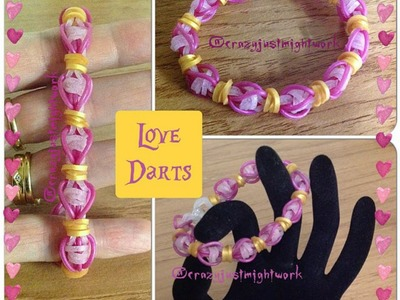 "New ""Love Darts"" Ranbow Loom Bracelet.How To Tutorial"