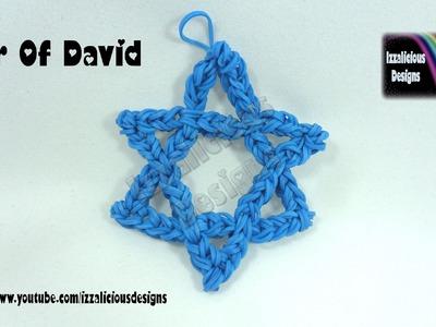 Rainbow Loom (Chanukah.Hanukkah) Star Of David Decorative Charm - loom-less.hook only