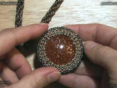 Sarubbest - Collana con perline: cabochon resina incastonato e Triple Spiral (Tecnica Peyote)