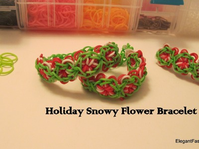 How to make holiday Christmas Snowy Flower bracelet on rainbow loom