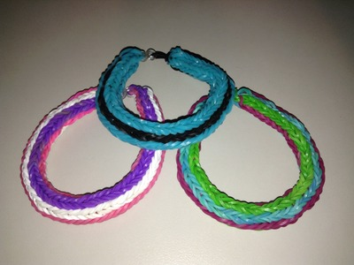 New Rainbow Loom Double Cross Long Stripe Bracelet