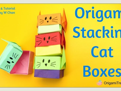Paper Crafts - Origami Cat Box - Origami Cat & Origami Box - Stacking Cat Gift Boxes EASY FOR KIDS