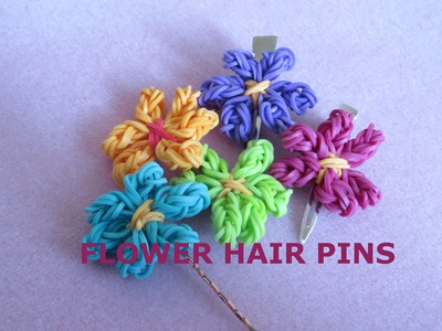 Rainbow Loom Spring Flower Hair Pin - Tutorial