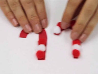 How to make pom pom candy cane decorations