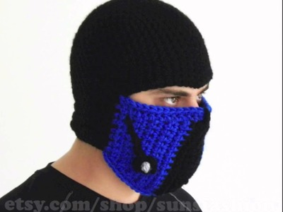 Sub zero mortal kombat hat mask handmade costume online order shop sub-zero mk etsy beanie men boy