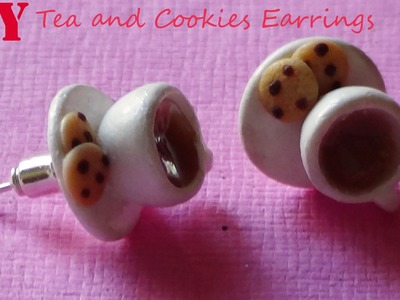 Tea and Cookies Earrings - Polymer Clay