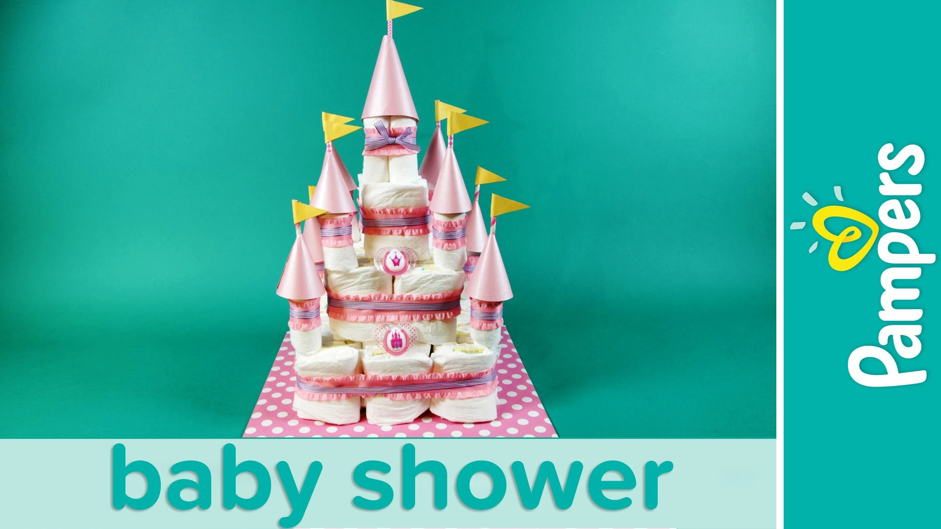 Princess Baby Shower Ideas: Castle Diaper Cake   Pampers