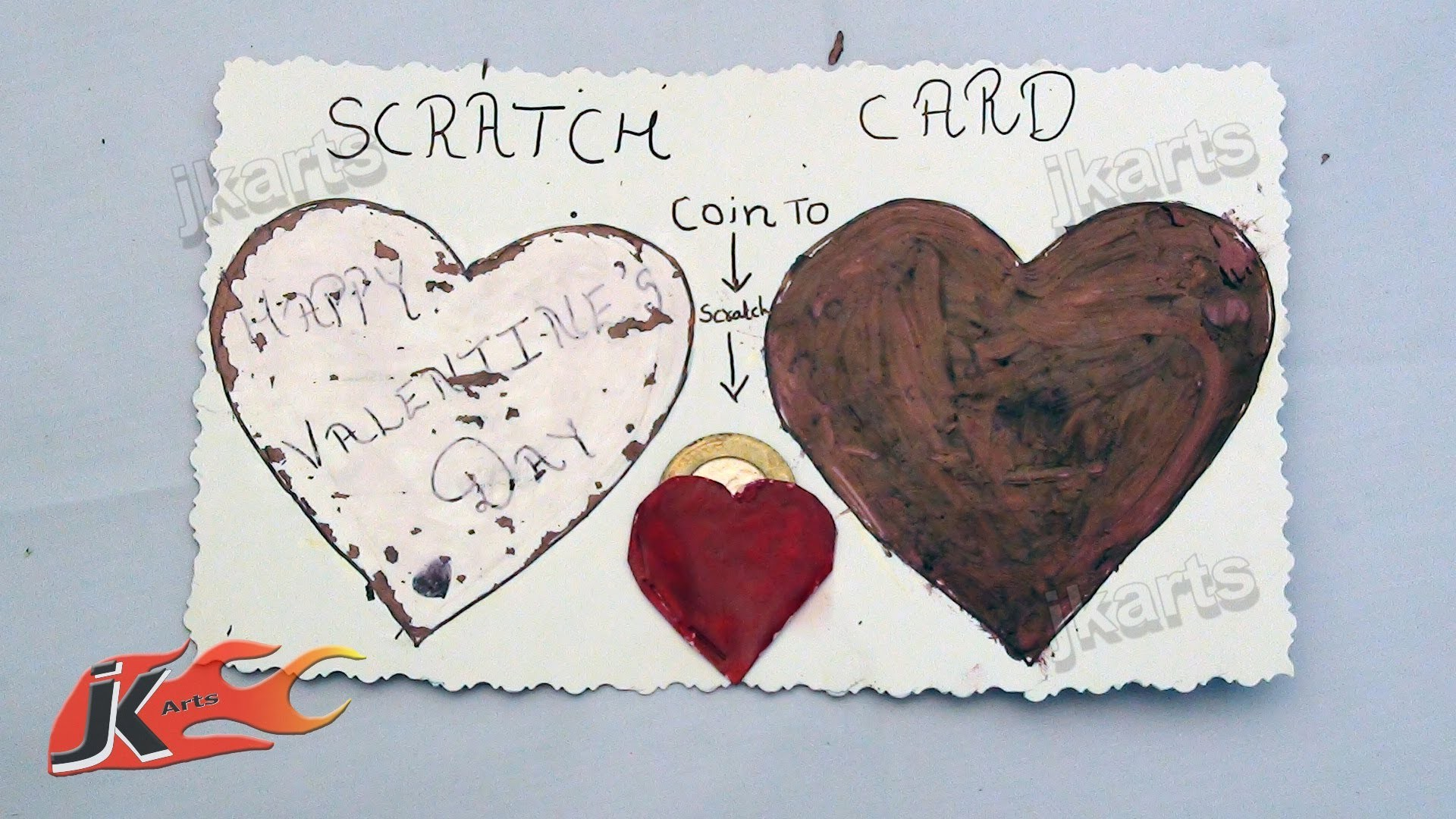 DIY How to make scratch card for valentine's day - JK Arts 144