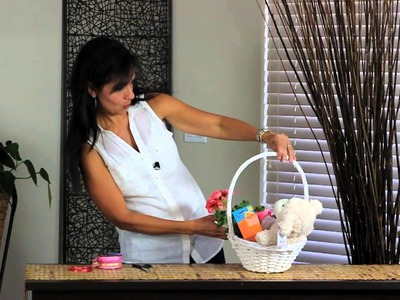 How to Decorate a White Wicker Basket to Put on Display for a Shower : Decorations for the House