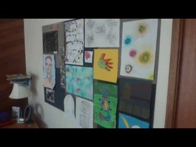 How to Display Kids Artwork - Attach Carpet Tiles to the Wall - Stick Velcro to the Artwork
