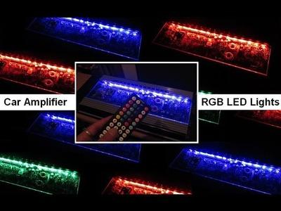 Install Wire Car RGB Lights Strips Amplifiers LED Plexiglass DIY Amp Rack