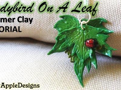 Polymer Clay Ladybird.Ladybug On A Leaf Charm.Pendant Tutorial