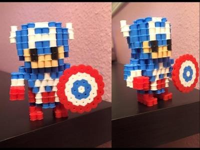 3D Perler bead Captain America!
