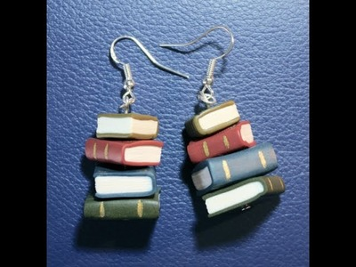 Book stack earrings in polymer clay.
