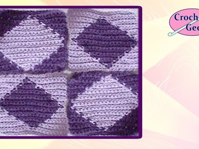 Diamond Tapestry Crochet Square - Chart Crochet Crochet Geek
