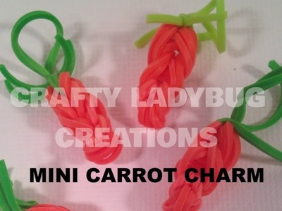 Rainbow Loom-LESS MINI CARROT Cute.Easy Charm Tutorial by Crafty Ladybug