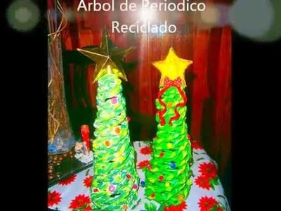 Árbol de Navidad con periódico. How to make a newspaper Christmas Tree.