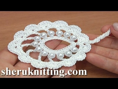Beaded Irish Crochet Leaf Motif Tutorial 34