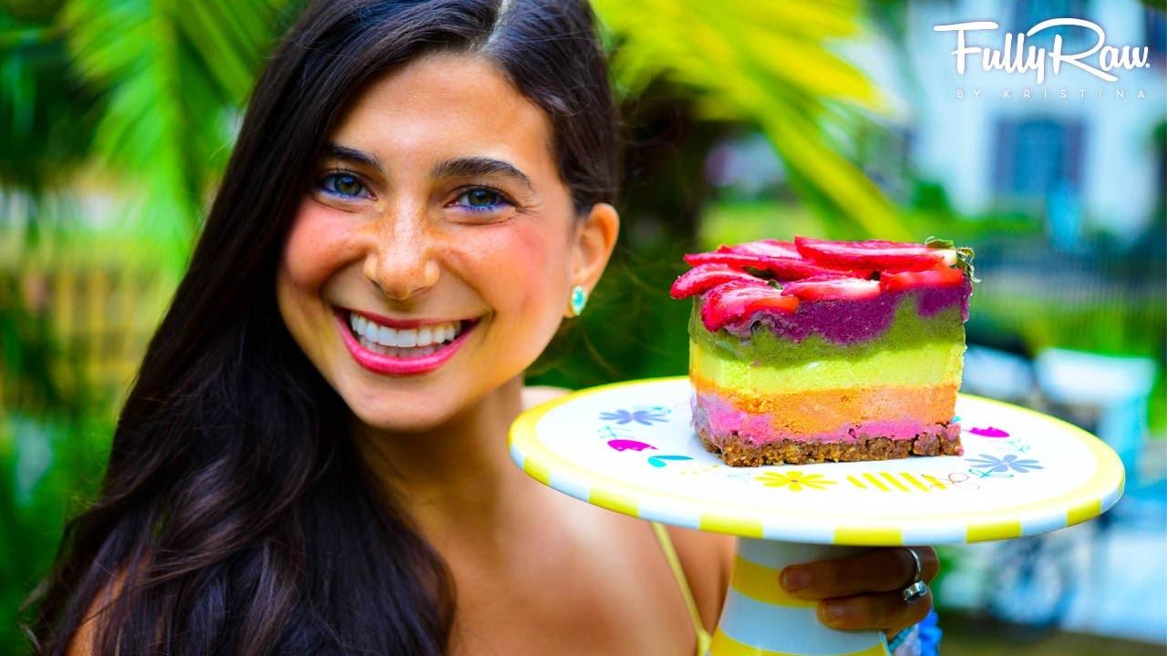 FullyRaw Rainbow Cake for My Birthday!
