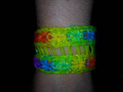 (NEW) HOW TO MAKE A DOUBLE STARBURST REVERSE COLOUR RAINBOW  LOOM BRACELET  (STEP BY STEP)