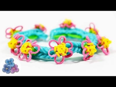 Rainbow Loom: How to make bracelets with tiny flowers EASY DIY Kawaii Bracelet Mathie