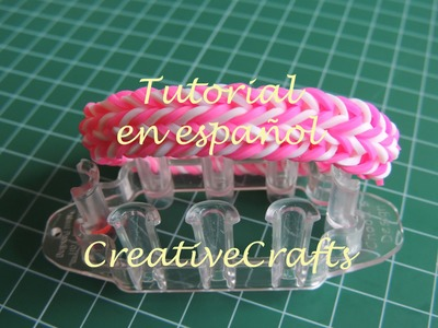 Como hacer una pulsera de gomitas criss cross quadfish con telar Monster Tail.