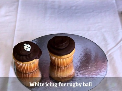 How to make a Rugby World Cup - Rugby Ball Cupcake