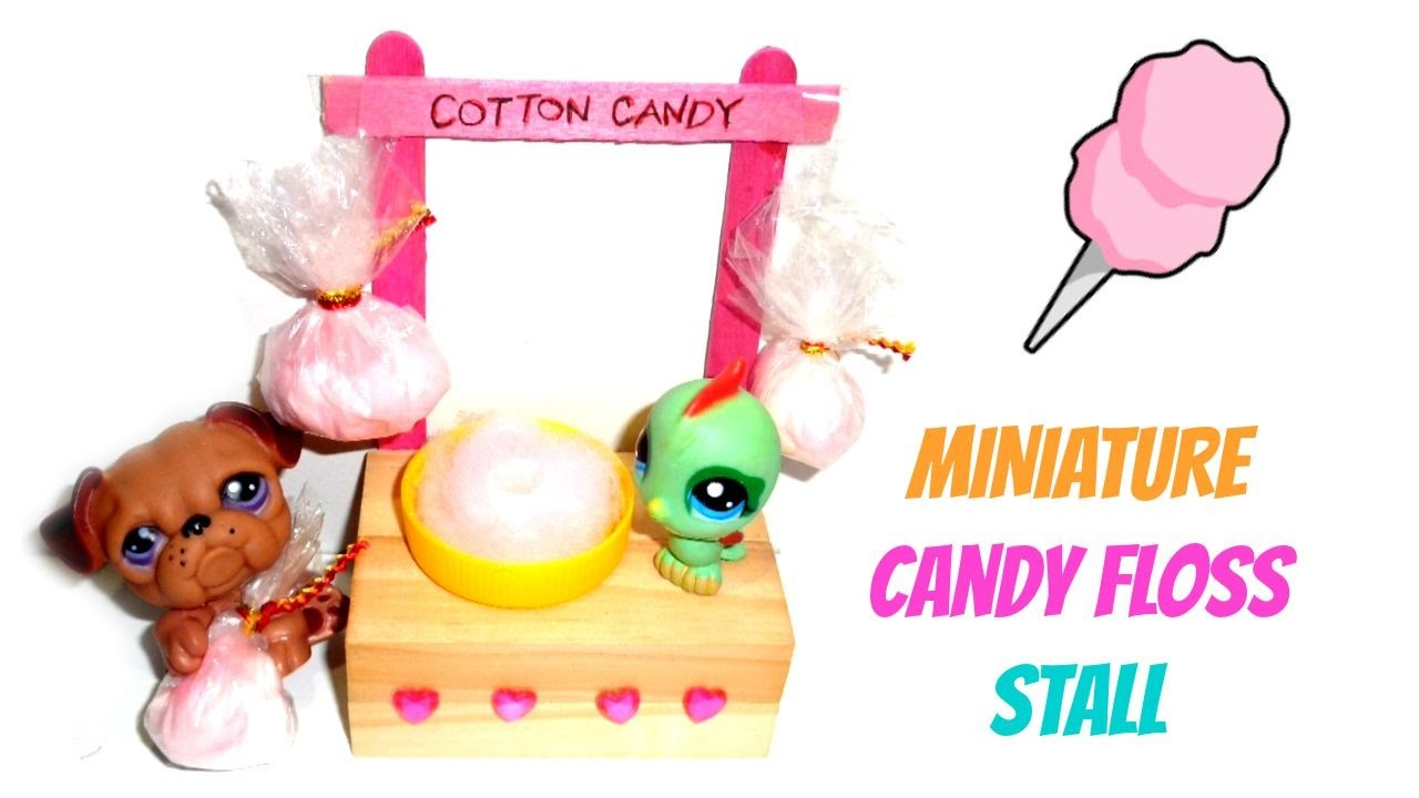 Miniature Cotton Candy Stall - DIY LPS Crafts, Easy Doll Crafts & Dollhouse Accessories